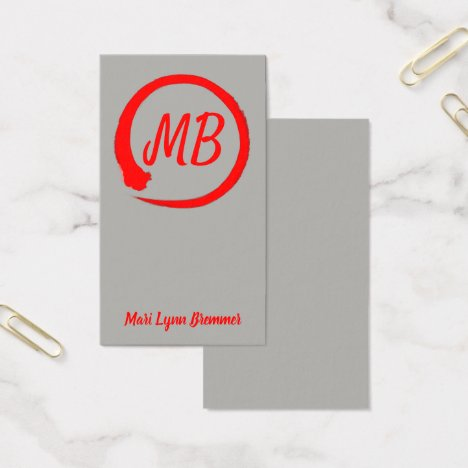Monogram vertical zen businesscards in red business card