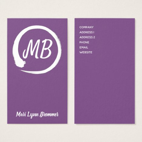 Monogram vertical zen businesscards in white business card