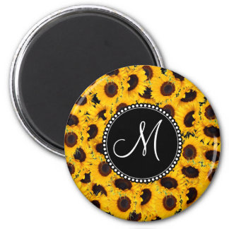 Monogram Vibrant Beautiful Sunflowers Floral 2 Inch Round Magnet