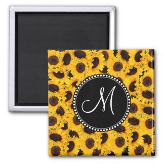 Monogram Vibrant Beautiful Sunflowers Floral 2 Inch Square Magnet