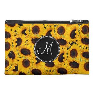 Monogram Vibrant Beautiful Sunflowers Floral Travel Accessories Bags