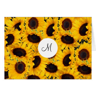 Monogram Vibrant Beautiful Sunflowers Floral Card