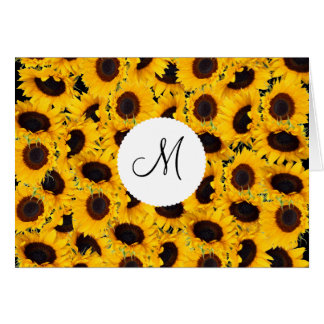 Monogram Vibrant Beautiful Sunflowers Floral Stationery Note Card