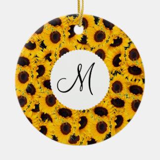 Monogram Vibrant Beautiful Sunflowers Floral Ceramic Ornament