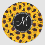Monogram Vibrant Beautiful Sunflowers Floral Classic Round Sticker at Zazzle