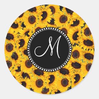 Monogram Vibrant Beautiful Sunflowers Floral Classic Round Sticker