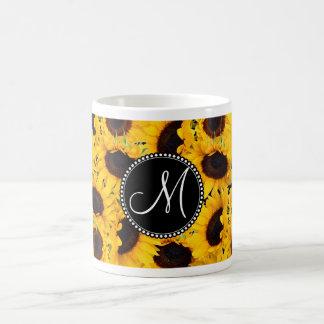 Monogram Vibrant Beautiful Sunflowers Floral Coffee Mug