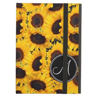 Monogram Vibrant Beautiful Sunflowers Floral iPad Air Covers