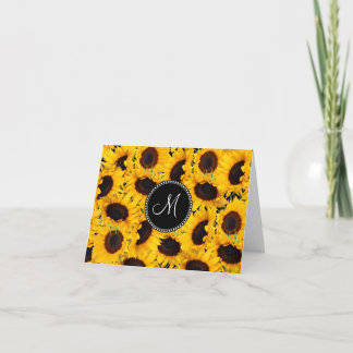 Monogram Vibrant Beautiful Sunflowers Floral Note Card