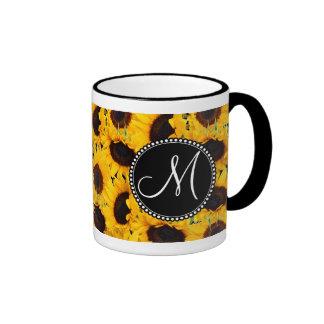 Monogram Vibrant Beautiful Sunflowers Floral Ringer Mug