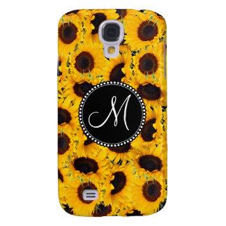 Monogram Vibrant Beautiful Sunflowers Floral Samsung Galaxy S4 Case
