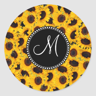 Monogram Vibrant Beautiful Sunflowers Floral Round Stickers