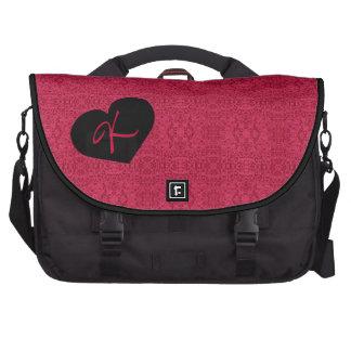 Monogram Victorian Rose Wallpaper Design Laptop Bag