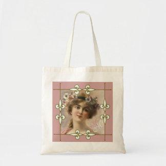 Monogram Vintage Art Nouveau Victorian Lady Tote Bag