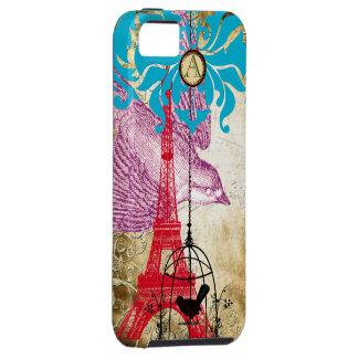 Monogram Vintage Bird Effiel Tower Damask iPhone 5 iPhone 5 Covers