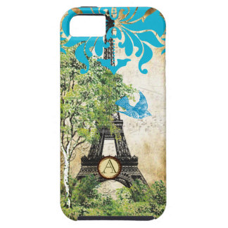 Monogram Vintage Bird Effiel Tower Damask iPhone iPhone 5 Case