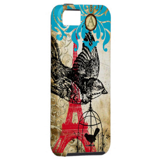 Monogram Vintage Bird Effiel Tower Damask iPhone iPhone 5 Covers