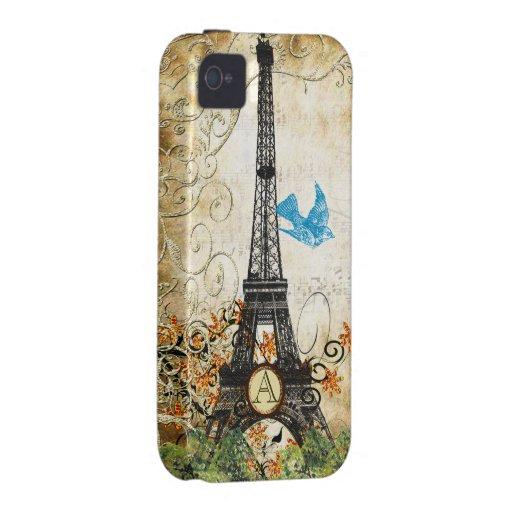 Monogram Vintage Bird Effiel Tower iPhone Case Case-Mate iPhone 4 Covers