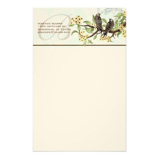 Monogram Vintage Birds Yellow Flowers Stationery