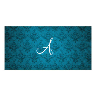 Monogram vintage blue damask photo card