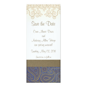 Monogram vintage blue golden paisley Save the Date Card