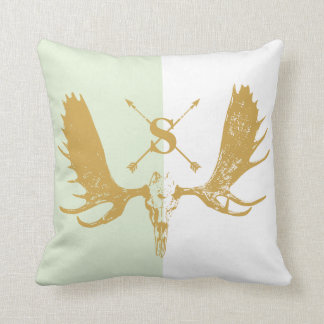 Monogram Vintage Boho Moose Gold on Mint & White Throw Pillow