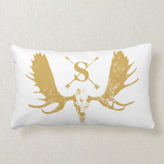Monogram Vintage Boho Moose Gold on White Lumbar Pillow