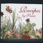 """Monogram Vintage Botanical Garden Flowers Recipes 3 Ring Binder<br><div class=""""desc"""">Monogrammed Vintage Botanical Garden Flowers Collection Recipes Binder.</div>"""
