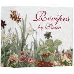 Monogram Vintage Botanical Garden Flowers Recipes 3 Ring Binder