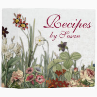 Monogram Vintage Botanical Garden Flowers Recipes 3 Ring Binder