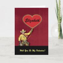 Monogram Vintage Cowboy Love Heart Valentine Holiday Card
