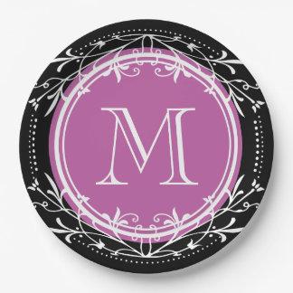 Monogram Vintage Decorative Purple and Black Paper Plate