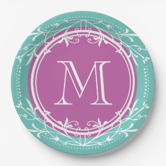 Monogram Vintage Decorative Purple Pastel Aqua Paper Plate
