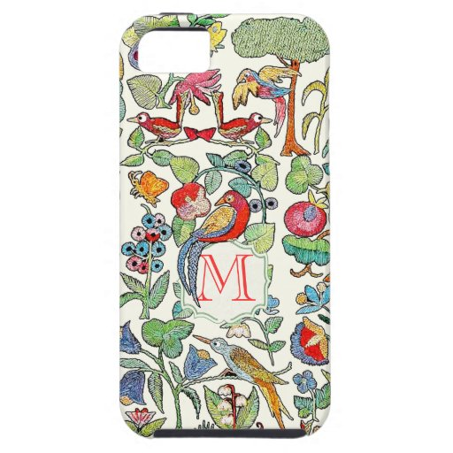 Monogram Vintage Faux Embroidered Pattern iphone iPhone 5 Cover
