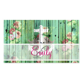 Monogram Vintage Floral Nautical Anchor Green Wood Double-Sided Standard Business Cards (Pack Of 100)
