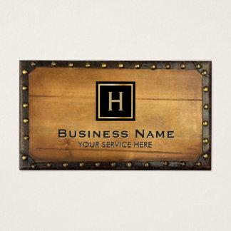 Monogram Vintage Framed Wood Texture Business Card
