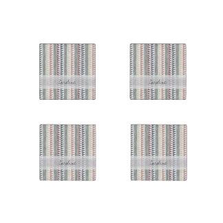 Monogram Vintage Geometric Ikat Stripes Pattern Stone Magnet