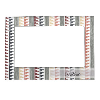 Monogram Vintage Geometric Ikat Stripes Pattern Magnetic Picture Frames