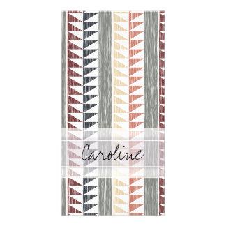 Monogram Vintage Geometric Ikat Stripes Pattern Custom Photo Card