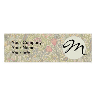 Monogram Vintage Golden Lilly Floral Design Double-Sided Mini Business Cards (Pack Of 20)