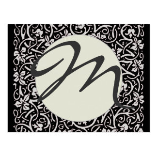 Monogram Vintage grapevine trendy floral pattern Postcard