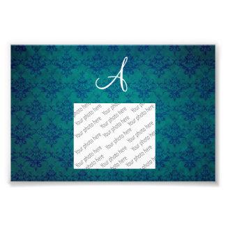 Monogram vintage green damask photo print