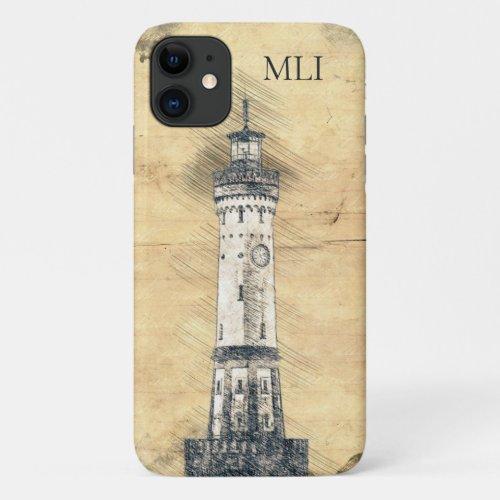 Monogram Vintage Lighthouse Nautical iPhone 11 Case