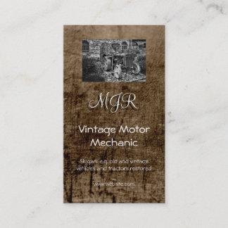 Monogram, Vintage Motor Mechanic, leather-effect Business Card