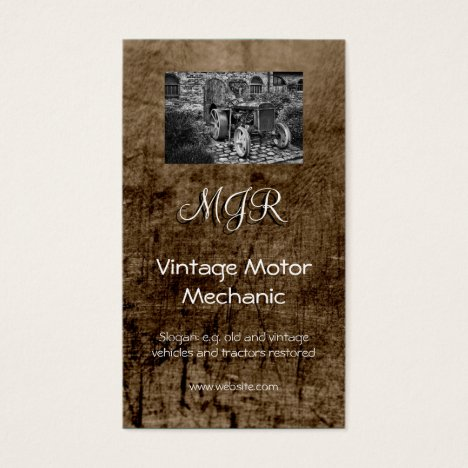 Monogram, Vintage Motor Mechanic, leather-effect Business Card