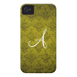 Monogram vintage mustard yellow damask iPhone 4 cases
