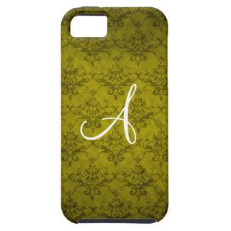 Monogram vintage mustard yellow damask iPhone 5 cover