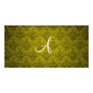 Monogram vintage mustard yellow damask photo card