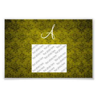 Monogram vintage mustard yellow damask photo print