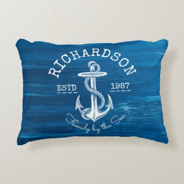 Beach Themed Monogram Vintage Nautical Anchor Blue Painted Wood Accent Pillow